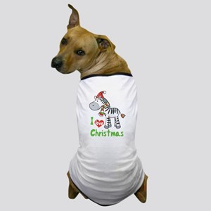 I Love Christmas Zebra Dog T-Shirt